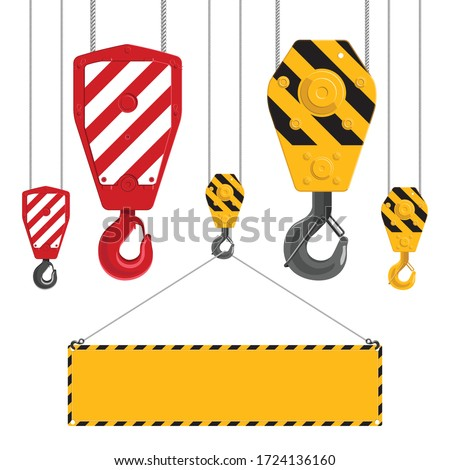 Industrial hooks collection. Metal crane hook with cables isolated on a white background. Industrial hook holding frame.