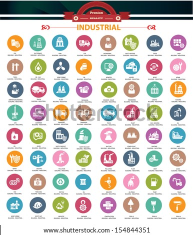 Industrial icons,Colorful version,vector