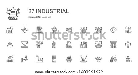 industrial icons set. Collection of industrial with robot, industrial robot, chimney, factory, tools, walkie talkie, industry, settings. Editable and scalable icons.