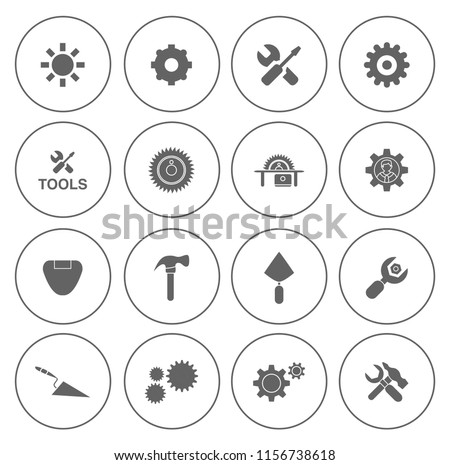 Industrial icons set - power energy, oil and gas plant - factory illustration