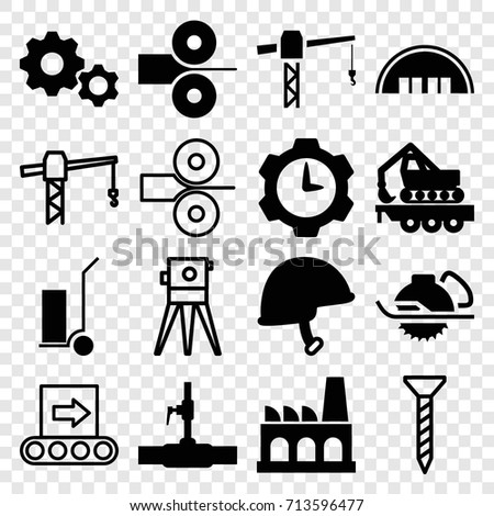 industrial icons set set of 16