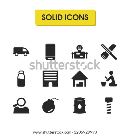 Industrial icons set with carpentry, farm and building elements. Set of industrial icons and petrol barrel concept. Editable vector elements for logo app UI design.