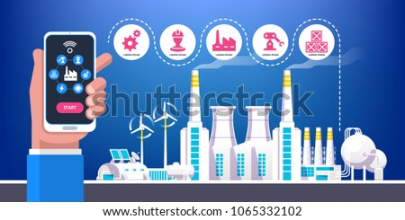 Industrial infographic. Industry 4.0 vector illustration