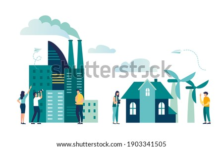 Industrial infographic template, ecology and nature pollution concept, buildings, skyscrapers, factories, house, nature, energy from windmills, vector illustration