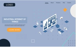 Industrial internet of things landing page template. Modern information technology and networking. Computing concept design cloud database. Internet data services, resources 4ir revolution, AI, IoT