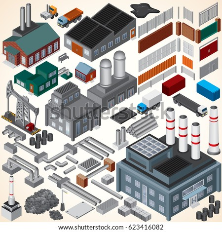 industrial isometric 3d...