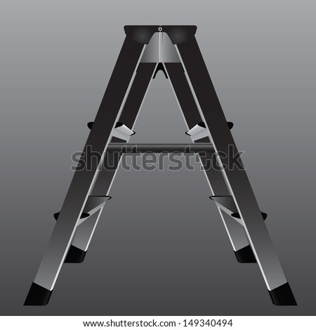 Industrial ladder for working in areas with low ceiling. Vector illustration.