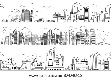 Shutterstock Industrial landscape and hand drawn cityscape. Vector plants and buildings line silhouettes. Business district and industrial district with plants and factories illustration