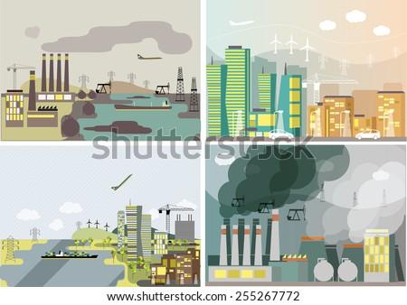 industrial landscape set