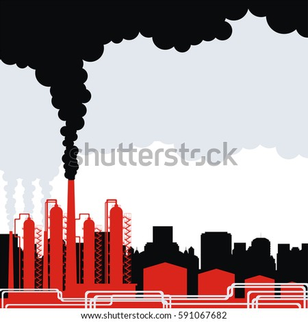 Industrial landscape with the image of an oil refinery. Vector background.
