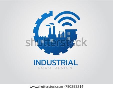 Industrial logo design, Smart Factory Vector Icon