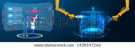Industrial machine robotic robot arm changes the DNK of a person. Scientists or researchers analyzing DNA molecule. Genetic engineering biotechnology and genome modification. Sci, HUD, GUI, UI medical