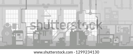 Industrial machine tools in production line manufacturer factory. Art design the silhouette of the industry