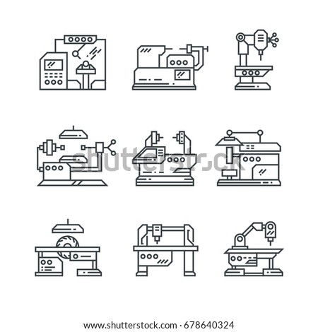 Industrial machines vector line icons. Factory machine tools symbol. Factory machine for industrial, illustration of equipment machinery
