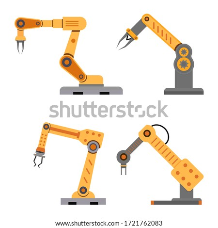 Industrial mechanical arms for assembly and manufacture. Vector conveyor mechanical robot, automation manufacturing and production, industry factory tools illustrations