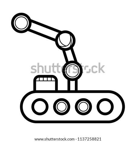 Industrial mechanical robot arm vector icon