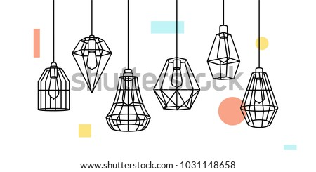 Industrial Metal Cage Pendant Light Hanging Lamp Edison Bulb lighting vector icon illustration outline line furniture