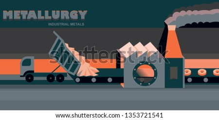 Industrial metals. Metallurgical plant, process of melting metal in a blast furnace, iron cast and the production of parts. Vector
