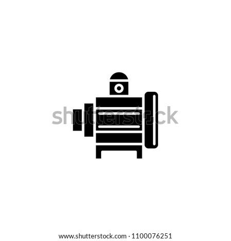 Industrial motor black icon concept. Industrial motor flat  vector symbol, sign, illustration.