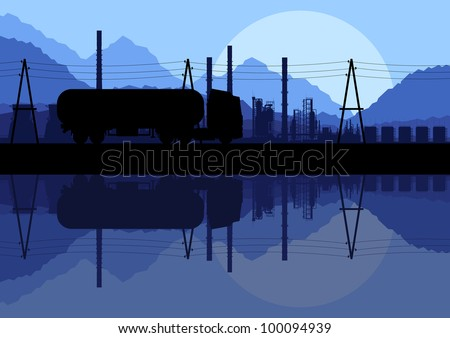 Industrial oil refinery factory and gasoline truck cistern silhouettes landscape background illustration vector
