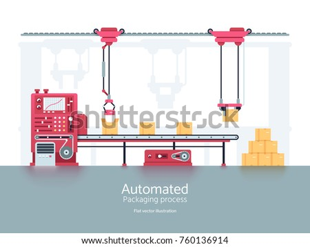 Industrial packaging machine with conveyor production line vector illustration. Conveyor machine for factory and industry manufacturing