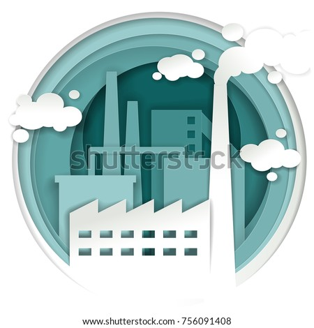 Industrial plant concept vector paper cut illustration. Industrial and factory building with smoke stack background in paper art style.