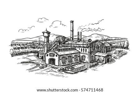 Industrial plant, factory sketch. Vintage building vector illustration