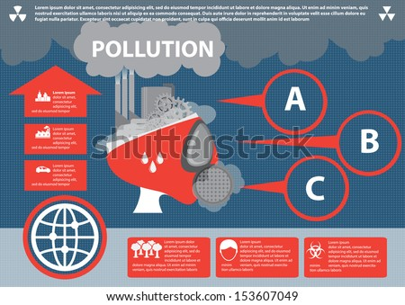 Industrial pollution. Info graphic elements, Vector