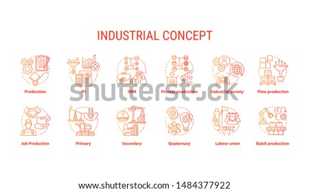 Industrial red concept icons set. Economy segment idea thin line illustrations. Primary, secondary industry. Batch production, labour union. Vector isolated outline drawings. Editable stroke