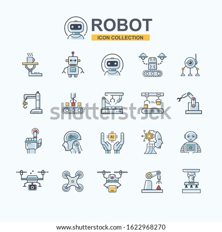 Industrial robot icon set for business technology, robotic arm, artificial intelligence, autonomous, drone, robotic chef, droid and manufacturing industry. Minimal logo cartoon concept.
