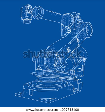 Industrial robot manipulator. Vector image rendered from 3d model in sketch style or drawing. Blue background