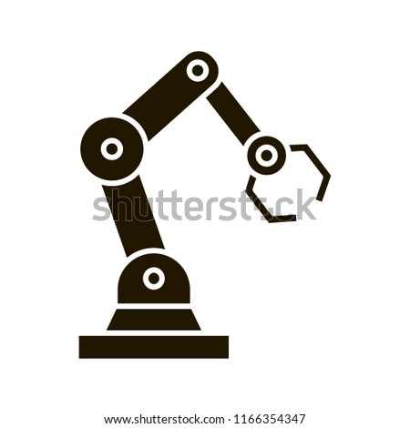 Industrial robotic arm glyph icon. Robot hand. Silhouette symbol. Negative space. Vector isolated illustration