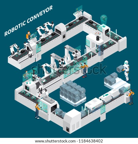 Industrial robots automation isometric composition with human characters and robotic arm manipulators with text captions vector illustration