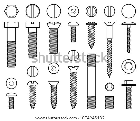 Industrial screws bolts, nuts and nails line vector icons. Bolt with screw, nut for fix work illustration