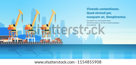 Industrial sea port cargo logistics container import export crane water delivery transportation concept shipping dock flat horizontal copy space vector illustration ストックフォト ©