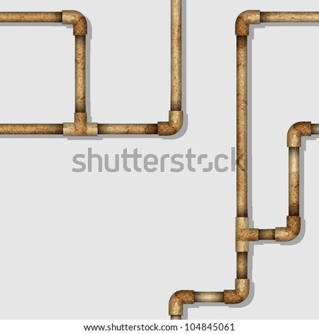 Industrial seamless pattern with rusty pipes. Vector background
