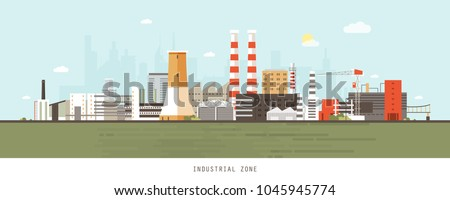 Industrial site or zone with factories, manufacturing plants, power stations, warehouses, cooling towers against city buildings on background. Flat cartoon colorful vector illustration for banner.