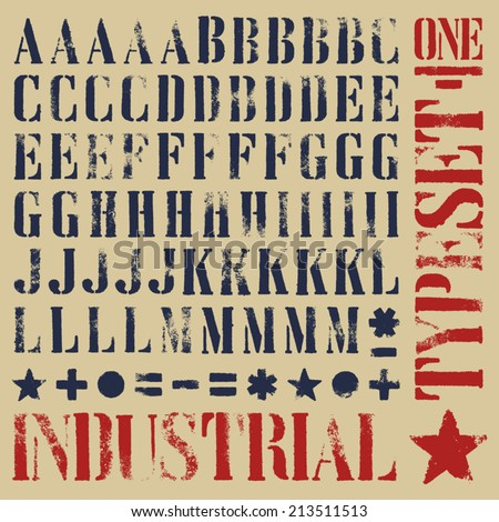 Industrial stencil grunge typeset Five alternatives for each glyph