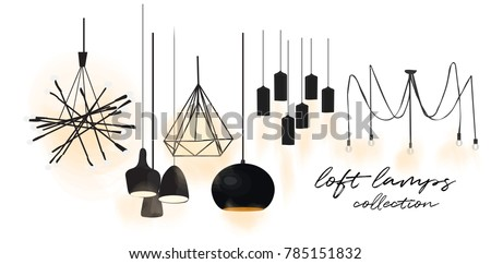 industrial style lamps collection. vector illustration. web site banner. online shop  logo advert. interior design. loft style. designer decor - Shutterstock ID 785151832