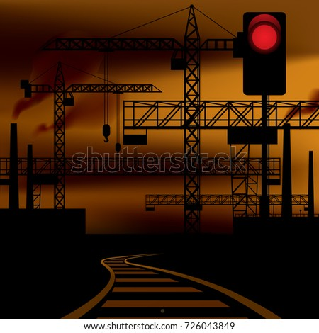 Industrial sunset landscape background with railway, black silhouette of tower cranes, metallic constructions, and semaphore red signal. Vector illustration