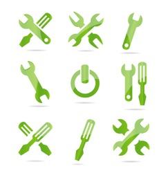 industrial tools symbols set green color
