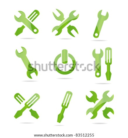 industrial tools symbols set green color