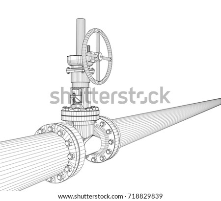 Industrial valve. Detailed vector illustration on white background. Vector rendering of 3d. Wire-frame style stock photo