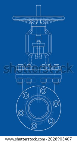 Industrial valve. Vector rendering of 3d. Wire-frame style. The layers of visible and invisible lines are separated. Orthography Photo stock ©