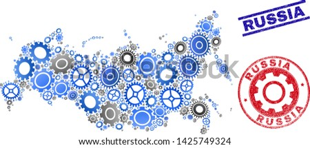 Industrial vector Russia map composition and stamps. Abstract Russia map is composed from gradient random cogwheels. Engineering geographic scheme in gray and blue colors,