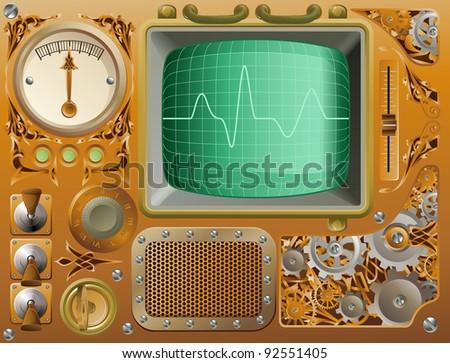 Industrial Victorian style grunge media player illustration