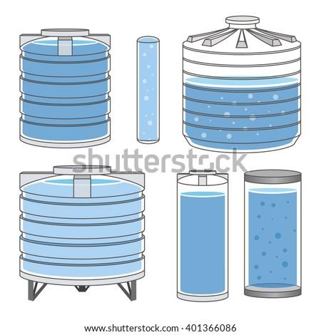 Industrial water tanks set. Vector illustration