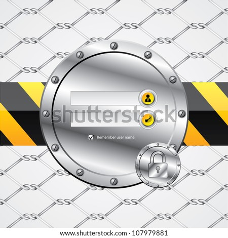 Industrial wire fence theme login screen - stock vector