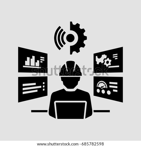 Industrial worker man with helmet working at a computer vector