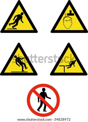 Industrial workplace signs and symbols showing site management and safety